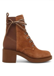 Gianvito Rossi Panelled 45 laced block-heel suede boots
