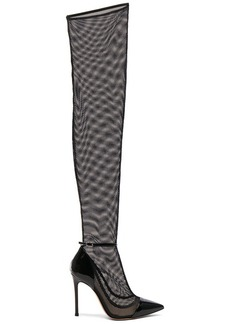 Gianvito Rossi Patent & Mesh Idol Thigh High Boots