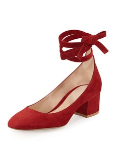 Gianvito Rossi Petra Suede Ankle-Wrap 45mm Pump