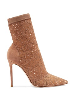 Gianvito Rossi Pizzo 100 crystal-embellished lace ankle boots