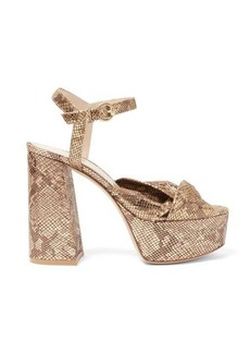 Gianvito Rossi Dallas 70 knotted python-effect leather sandals