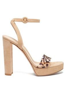 Gianvito Rossi Plexi 100 leopard strap platform sandals