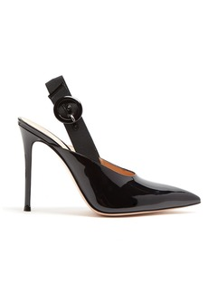 Gianvito Rossi Point-toe 100 slingback patent-leather pumps