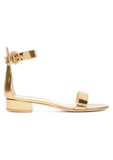 Gianvito Rossi Portofino 20 block-heel metallic-leather sandals