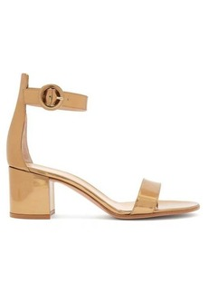Gianvito Rossi Portofino 60 metallic leather block heels