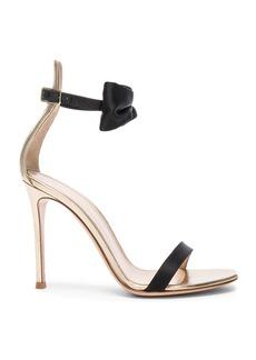 Gianvito Rossi Satin & Leather Bow Portofino Heels