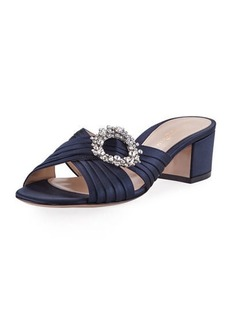 Gianvito Rossi Satin Embellished Slide Sandal