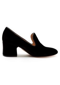 Gianvito Rossi Satin-piped velvet block-heel loafers
