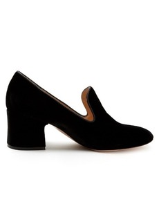 Gianvito Rossi Satin-piped velvet block-heel loafers