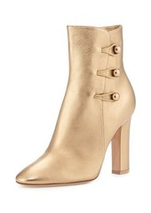 Gianvito Rossi Savoie Metallic Button-Loop Ankle Boot