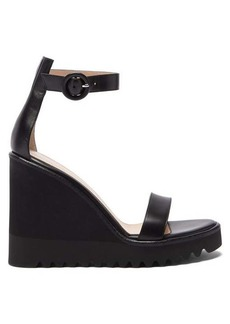 Gianvito Rossi Scalloped-sole leather wedge sandals