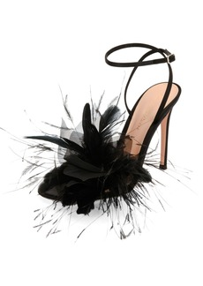 Gianvito Rossi Selah Feather Ankle-Wrap 105mm Sandal