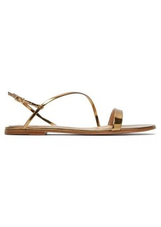 Gianvito Rossi Simple Strap mirrored-leather slingback sandals