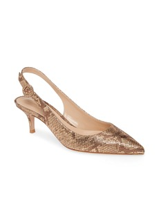 Gianvito Rossi Snake Embossed Slingback Pump (Women)