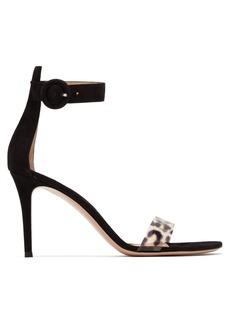 Gianvito Rossi Stella 85 leopard plexi and suede sandals