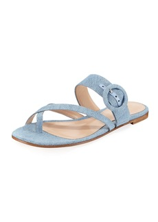 Gianvito Rossi Strappy Flat Denim Slide Sandal
