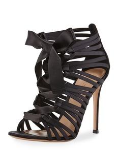 Gianvito Rossi Strappy Lace-Up Satin Sandal