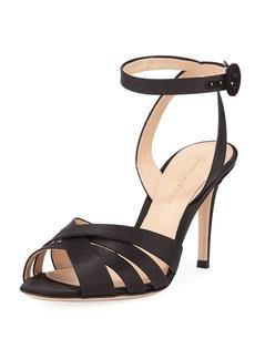Gianvito Rossi Strappy Satin Ankle-Wrap Sandal