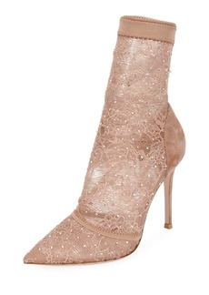 Gianvito Rossi Stretch-Lace and Strass High Bootie