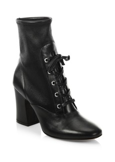 Gianvito Rossi Stretch Leather Lace-Up Block Heel Booties