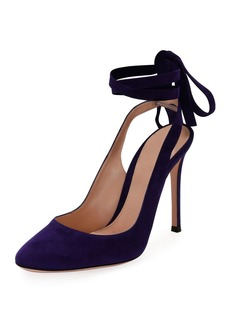 Gianvito Rossi Suede Ankle-Tie 105mm Pump