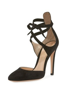 Gianvito Rossi Suede Ankle-Wrap d'Orsay Pump