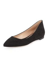 Gianvito Rossi Suede Crystal-Studded Ballerina Flat
