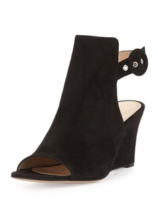 Gianvito Rossi Suede Peep-Toe Ankle-Wrap Wedge
