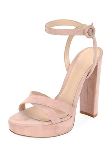 Gianvito Rossi Suede Platform Ankle-Wrap Sandal