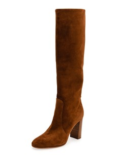 Gianvito Rossi Suede Stack-Heel Knee Boot