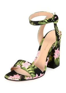 Gianvito Rossi Tandi Floral Ankle-Wrap 100mm Sandal