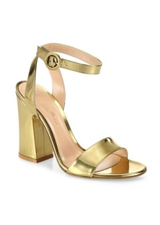 Gianvito Rossi Tandi Metallic Leather Ankle-Strap Block-Heel Sandals