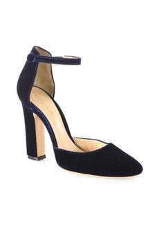 Gianvito Rossi Velvet Ankle-Strap Block-Heel Pumps