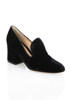 Gianvito Rossi Velvet Loafer Block Heel Pumps
