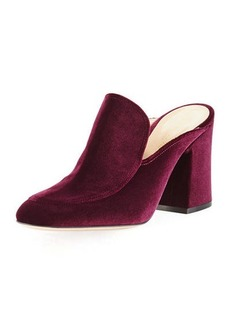 Gianvito Rossi Velvet Notched 85mm Loafer Mule