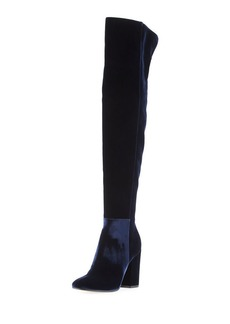 Gianvito Rossi Velvet Over-the-Knee Block-Heel Boot