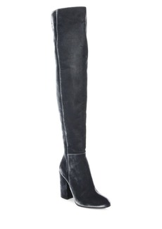 Gianvito Rossi Velvet Over-The-Knee Block Heel Boots