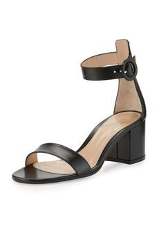 Gianvito Rossi Versilia Leather Chunky-Heel Sandal