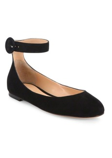 Gianvito Rossi Virna Suede Ankle-Strap Ballet Flats
