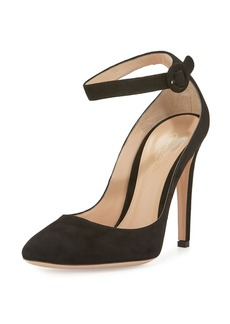 Gianvito Rossi Virna Suede Ankle-Wrap 105mm Pump