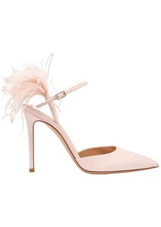 Gianvito Rossi Woman 100 Feather-trimmed Patent-leather Pumps Pastel Pink