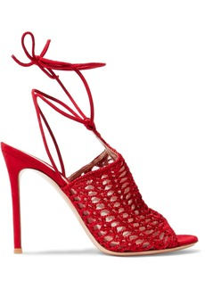 Gianvito Rossi Woman Bardot Suede And Crochet-knit Sandals Red