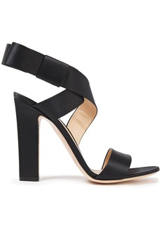 Gianvito Rossi Woman Rae Bow-embellished Silk-satin Sandals Black