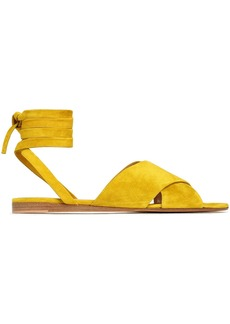 Gianvito Rossi Woman Crissy Lace-up Suede Sandals Mustard