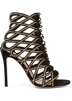 Gianvito Rossi Woman Cutout Embroidered Suede Sandals Black