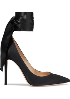 Gianvito Rossi Woman Gala Lace-up Satin Pumps Black