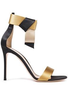 Gianvito Rossi Woman Geisha 100 Bow-embellished Color-block Silk-satin Sandals Black
