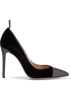 Gianvito Rossi Woman Gloria 105 Crystal-embellished Velvet Pumps Black