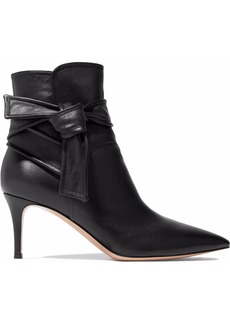 Gianvito Rossi Woman Knotted Leather Ankle Boots Black