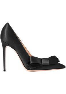 Gianvito Rossi Woman Kyoto 100 Bow-embellished Satin Pumps Black